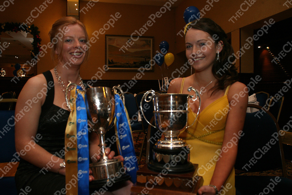 Junior and minor captains Deirdre Murphy and Corina Rosengrave at a camogie presentation night in the West County Hotel on Friday night.<br /> Photograph by Yvonne Vaughan