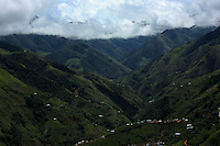 A view of the mountains around El Campanario, where manual eradication efforts of the coca crops are taking a toll on the local economy, in a remote area of the southern Colombian state of Nariño, on Thursday, June 21, 2007. (Photo/Scott Dalton)