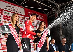 09.07.2019, Frohnleiten, AUT, Ö-Tour, Österreich Radrundfahrt, 3. Etappe, von Kirchschlag nach Frohnleiten (176,2 km), im Bild Jonas Koch (GER, CCC Team) im roten Trikot des Gesamtführenden // Jonas Koch of Germany (CCC Team) oveall leader in the leaders jersey during 3rd stage from Kirchschlag to Frohnleiten (176,2 km) of the 2019 Tour of Austria. Frohnleiten, Austria on 2019/07/09. EXPA Pictures © 2019, PhotoCredit: EXPA/ Reinhard Eisenbauer