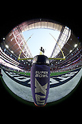 A wide angle, fisheye lens turns the end zone goal post into a round ball in this general view photograph of the University of Phoenix Stadium before Seattle Seahawks NFL Super Bowl XLIX football game against the New England Patriots on Sunday, Feb. 1, 2015 in Glendale, Ariz. The Patriots won the game 28-24. ©Paul Anthony Spinelli