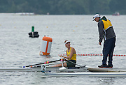 Hamburg. GERMANY.   AUS JW1X. Amanda BATEMAN. greeted by her coach after competing in the Saturday Morning, Semi Finals C/D  at the 2014 FISA Junior World rowing. Championships.  10:28:50  Saturday  09/08/2014  [Mandatory Credit; Peter Spurrier/Intersport-images]