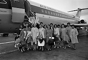 "23/07/1967<br /> 07/23/1967<br /> 23 July 1967<br /> Arrival of group of students from Paris at Dublin Airport. Image shows the group of 15 students outside the disembarking from  the ""St Declan"" a BAC 1-11 series 208AL, at the Airport."