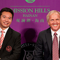 HAIKOU, CHINA - MARCH 18:  Tenniel Chu, Executive Director of Mission Hills Golf Club (L) and Greg Norman, Tournament Ambassador smiles during the press conference for launching the Mission Hills Star Trophy wich will be played from October 28-31 at the newly launched Mission Hills Resort Hainan on March 18, 2010 in Haikou, China.  Photo by Victor Fraile / studioEAST