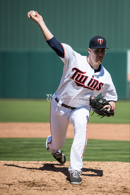FORT MYERS, FL- FEBRUARY 26: Trevor May #65 of the Minnesota Twins pitches against the Washington Nationals on February 26, 2017 at Hammond Stadium in Fort Myers, Florida. (Photo by Brace Hemmelgarn) *** Local Caption *** Trevor May