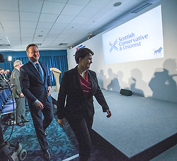 David Cameron and Scottish Conservative leader Ruth Davidson after he gave a speech to the Scottish Conservative conference, held today, 4/3/2016, at Murrayfield Stadium, Edinburgh.