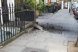London, June 11th 2017. A small explosion that appears to be gas or electricity related, displacing paving stones on Foley Street in central London, occurs just yards from the BBC as Labour Leader Jeremy Corbyn and Defence Secretary Michael Fallon appear on the Andrew Marr show.