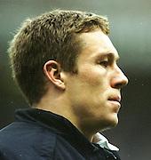 Twickenham. England. RFU Twickenham Stadium UKThe Investec Challenge. 17th Nov 2001, England v Romania - Twickenham, Jonny Wilkinson, exercising during the first half.<br /> Peter Spurrier Sports  Photo, email pictures@rowingpics.com<br /> Tel 44 (0) 7973 819 551