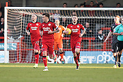 Crawley Town forward James Collins (19) moments after scoring from the penalty spot (1-3) runs back with the ball to the half way line during the EFL Sky Bet League 2 match between Crawley Town and Morecambe at the Checkatrade.com Stadium, Crawley, England on 18 February 2017. Photo by David Charbit.