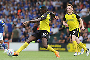 Burton Albion forward Lucas Akins shoots at goal during the EFL Sky Bet League 1 match between Burton Albion and Ipswich Town at the Pirelli Stadium, Burton upon Trent, England on 3 August 2019.