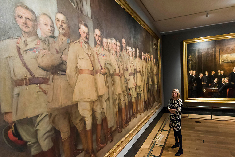 General Officers of World War 1, 1922, by John Singer Sargent and Naval Officers of World War 1, 1921, by Sir Arthur Stockdale Cope - The National Portrait Gallery, London opens brand new gallery spaces devoted to its early 20th Century Collection on 4 November 2017. The creation of these new spaces within the Gallery's free permanent Collection, has been made possible by a grant from the DCMS/ Wolfson Museums & Galleries Improvement Fund. London 03 Nov 2017.