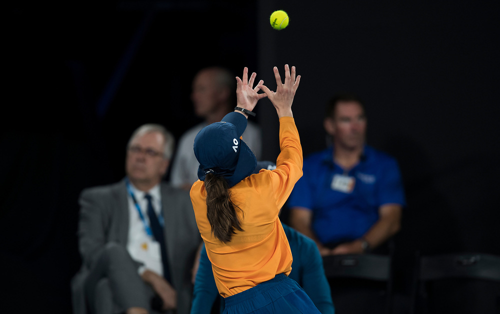 A ball kid during the 2018 Australian Open on day 12 in Melbourne, Australia on Friday night January 26, 2018.<br /> (Ben Solomon/Tennis Australia)