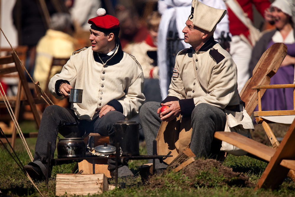 London, ONT.; October 1, 2011--   Back at camp during a War of 1812 re-enactment at Fanshawe Pioneer Village in London, Ontario, October 1, 2011.<br /> <br /> (GEOFF ROBINS/ Postmedia News)