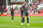 Pablo Hernandez of Leeds United (19) scores a goal and celebrates to make the score 0-1 during the EFL Sky Bet Championship match between Bristol City and Leeds United at Ashton Gate, Bristol, England on 4 August 2019.