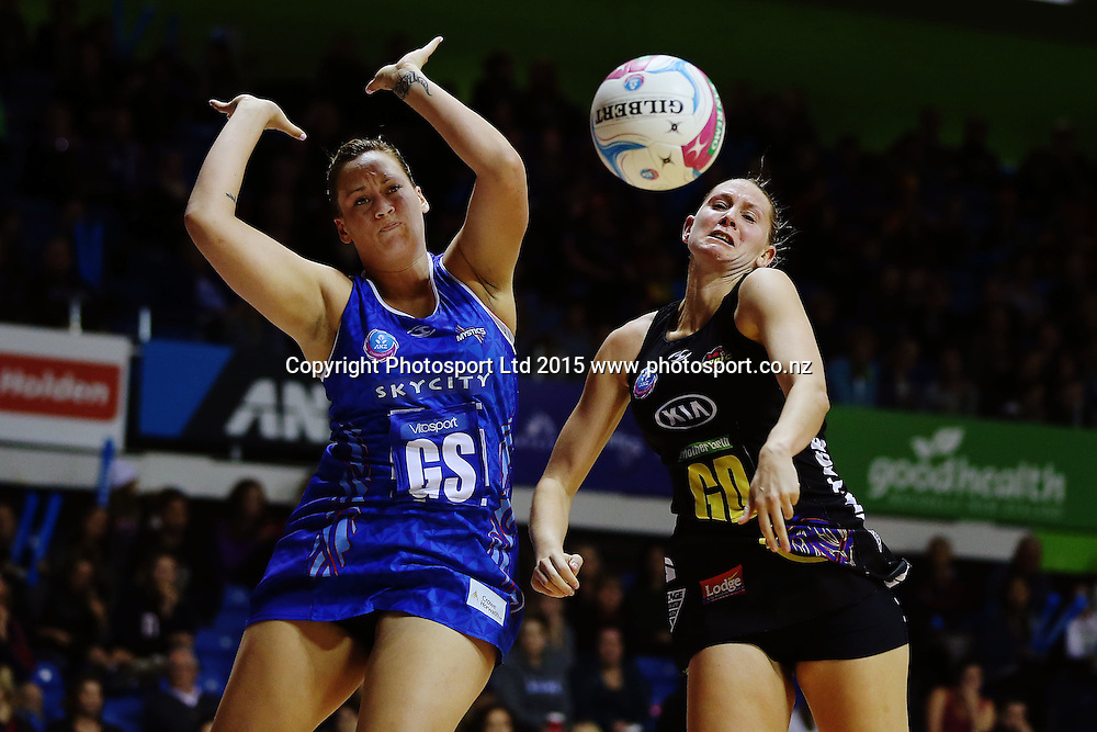 Casey Kopua of the Magic competes against Cathrine Latu of the Mystics. 2015 ANZ Championship Conference Final, Northern Mystics v WBOP Magic, The Trusts Arena, Auckland, New Zealand. 8 June 2015. Photo: Anthony Au-Yeung / www.photosport.co.nz