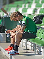 27.08.2013, Weserstadion, Bremen, GER, 1.FBL, Training SV Werder Bremen, im Bild Marko Arnautovic (SV Werder Bremen #7), borne, mit Clemens Fritz (SV Werder Bremen #8) vor dem Laktattest // during the training session of the German Bundesliga Club SV Werder Bremen at the Weserstadion, Bremen, Germany on 2013/08/27. EXPA Pictures © 2013, PhotoCredit: EXPA/ Andreas Gumz <br /> <br /> ***** ATTENTION - OUT OF GER *****