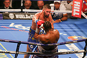 Tony Bellew throws a punch at David Haye and lands him on the ropes at the O2 Arena, London, United Kingdom on 5 May 2018. Picture by Phil Duncan.