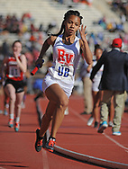 Rancoacas Valley's Darynn Minus-Vincent runs the second leg during the 4x400 at the 124th running of the Penn Relays Thursday, April 26, 2018 in Philadelphia. (Photo by William Thomas Cain)