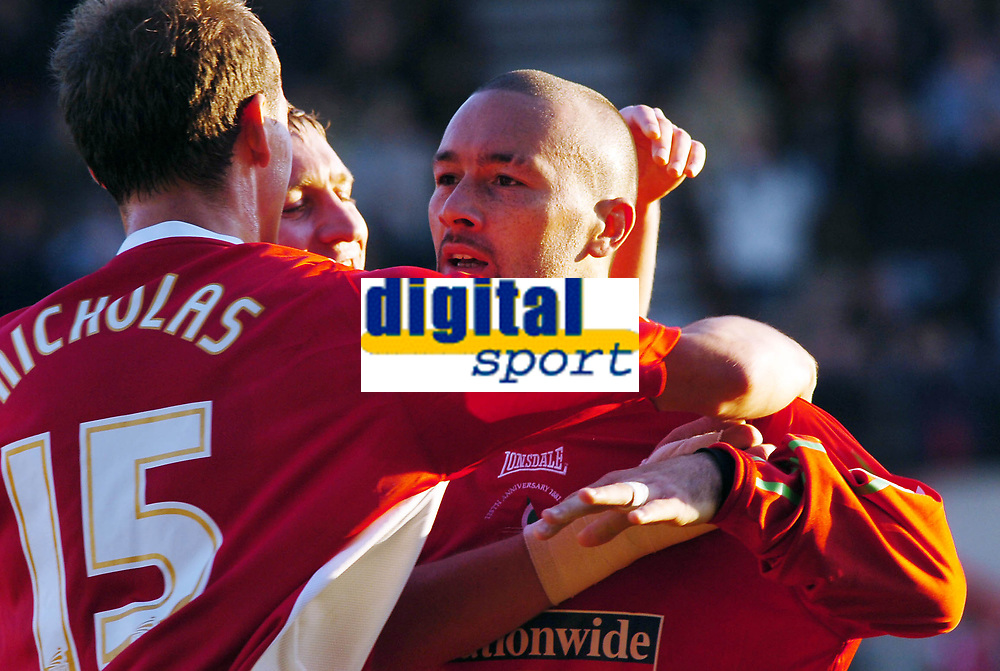 Photo: Kevin Poolman.<br />Swindon Town v Hereford United. Coca Cola League 2. 04/11/2006. Christian Roberts (right) of Swindon celebrates his goal and Swindon's first.