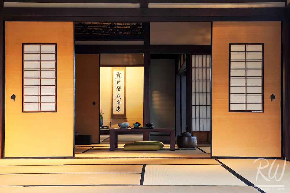 Interior of Traditional Japanese House Dining Room at The Huntington Botanical Gardens, San Marino, California