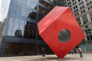 Red Cube, 1968 by artis Isamu Noguchi, located in front of 140 Broadway, between Liberty and Cedar Streets near Zucotti Park
