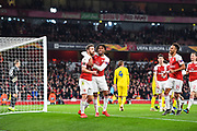 Arsenal Defender Shkodran Mustafi (20) celebrates scoring a goal (2-0) during the Europa League round of 32, leg 2 of 2 match between Arsenal and BATE Borisov at the Emirates Stadium, London, England on 21 February 2019.