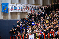 Supporters of KK Plama - Pur Ilirska Bistrca during basketball match between KK Mesarija Prunk Sezana and KK Plama - Pur in 2nd Slovenian Basketball League, on January 20, 2018 in Sports hall OS Sezanal,Sezana, Slovenia. Photo by Urban Urbanc / Sportida