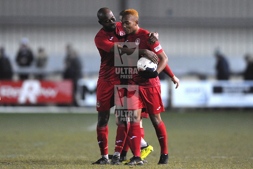 TELFORD COPYRIGHT MIKE SHERIDAN Theo Streete of Telford attempts to wrestle the match ball from hat-trick hero Marcus Dinanga during the Vanarama Conference North fixture between Darlington and AFC Telford United at Blackwell Meadows on Saturday, November 30, 2019.<br /> <br /> Picture credit: Mike Sheridan/Ultrapress<br /> <br /> MS201920-032