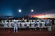Frisco Heritage listens to their coaches on the bench against The Colony during a high school football game at Tommy Briggs Cougar Stadium in The Colony, Texas on September 11, 2015. (Cooper Neill/Special Contributor)