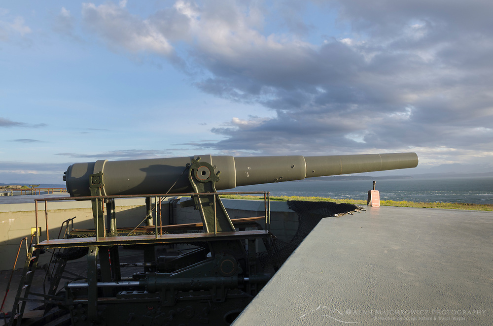 10 inch gun mounted on disappering carriage. Battery Worth, Fort Casey State Park, Washington.