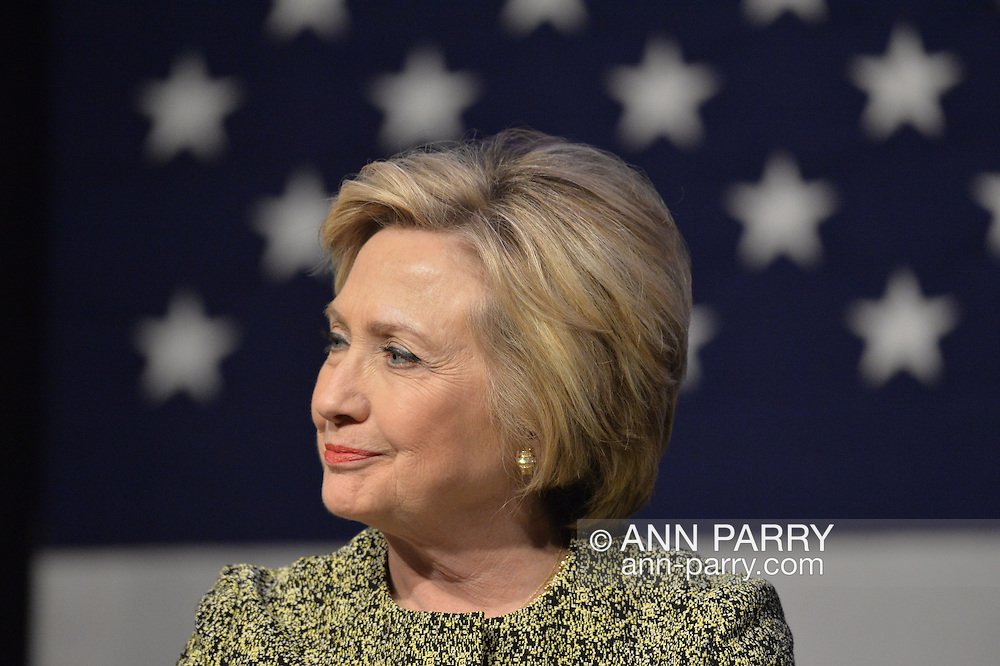 Port Washington, New York, USA. April 11, 2016. HILLARY CLINTON, Democratic presidential primary leading candidate, has a discussion on gun violence prevention with Rep. S. Israel, and with activists who lost family members due to shootings. The activists shared their stories of personal loss, and Hillary Clinton, the former Secretary of State and U.S. Senator from New York, called for stronger gun legislation. Clinton had several Long Island events scheduled this day, and the New York presidential primary is April 19.
