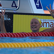Sarah Sjostrom, Sweden,  winning the Gold medal with a new world record in the Women's 100m butterfly at the World Swimming Championships in Rome on Monday, July 27, 2009. Photo Tim Clayton..