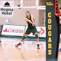 2nd year libero Dryden Wall (18) of the Regina Cougars in action during Men's Volleyball home game on January 13 at Centre for Kinesiology, Health and Sport. Credit: /Arthur Images 2018
