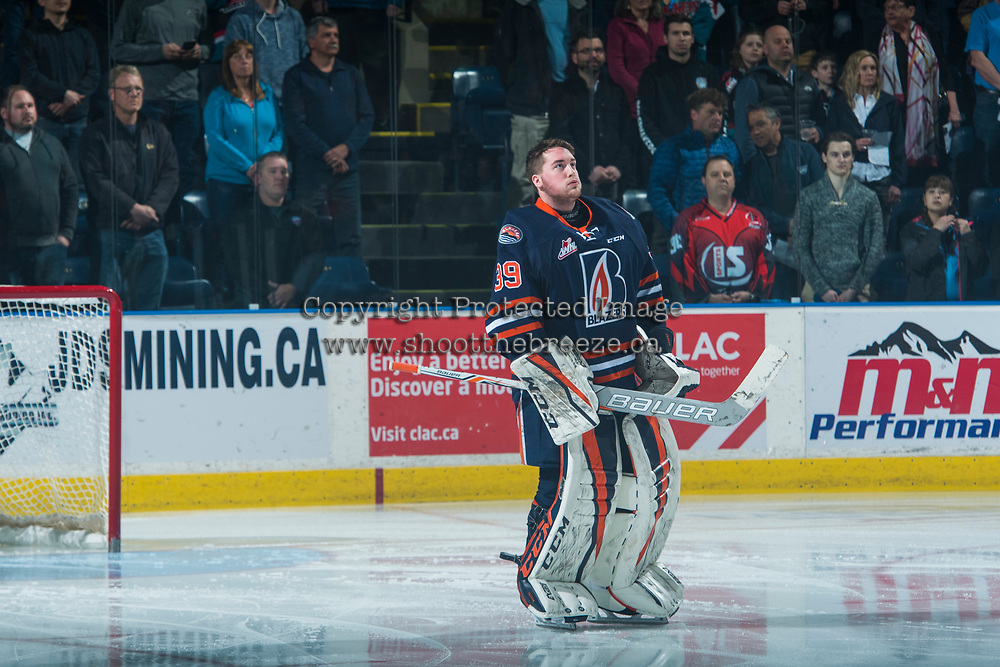 KELOWNA, CANADA - MARCH 25: Connor Ingram #39 of the Kamloops Blazers stands on the ice during the national anthem against the Kelowna Rockets on March 25, 2017 at Prospera Place in Kelowna, British Columbia, Canada.  (Photo by Marissa Baecker/Shoot the Breeze)  *** Local Caption ***