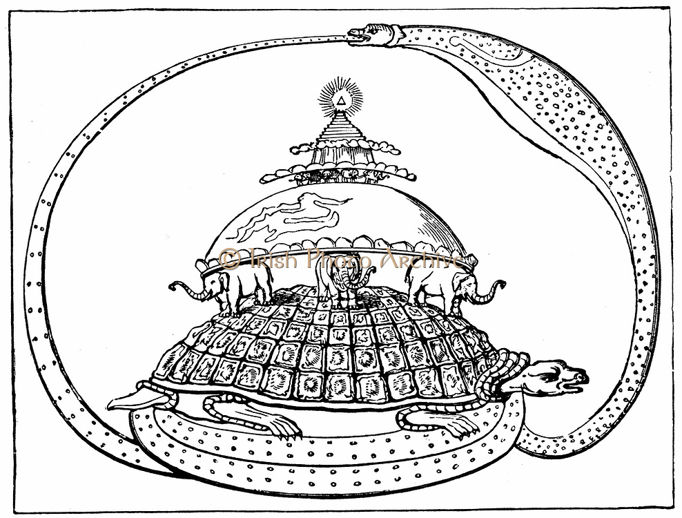 Hindu concpet of the universe, showing it encircled by a serpent, the symbol of eternity. Mount Meru represents paradise, earth below it supported by six elephants, and below this is the infernal region carried by a toirtoise resting on serpent snake. Wood engraving c1880 .