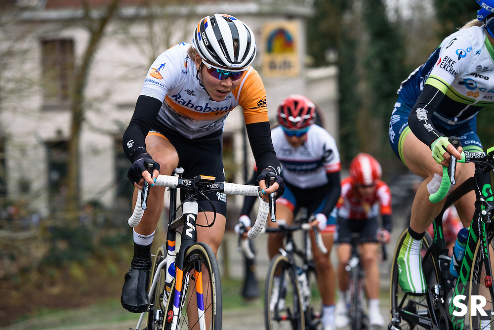 Thalita de Jong battles up Kapelmuur - Pajot Hills Classic 2016, a 122km road race starting and finishing in Gooik, on March 30th, 2016 in Vlaams Brabant, Belgium.