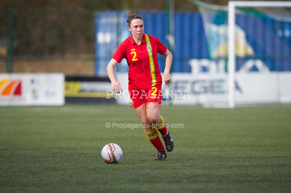 OSWESTRY, ENGLAND - Sunday, February 3, 2013: Wales' Rhian Cleverly in action against Norway during the Women's Under-19 International Friendly match at Park Hall. (Pic by David Rawcliffe/Propaganda)