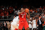 January 13, 2013: Charles Mitchell #0 of Maryland in action during the NCAA basketball game between the Miami Hurricanes and Maryland Terrapins at the BankUnited Center in Coral Gables, FL. The Hurricanes defeated the Terrapins 54-47.