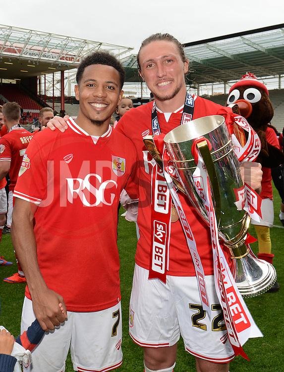 Bristol City's Korey Smith celebrates with Bristol City's Luke Ayling  - Photo mandatory by-line: Dougie Allward/JMP - Mobile: 07966 386802 - 03/05/2015 - SPORT - Football - Bristol - Ashton Gate - Bristol City v Walsall - Sky Bet League One