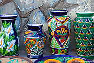 Colorful pottery for sale in downtown Loreto Mexico