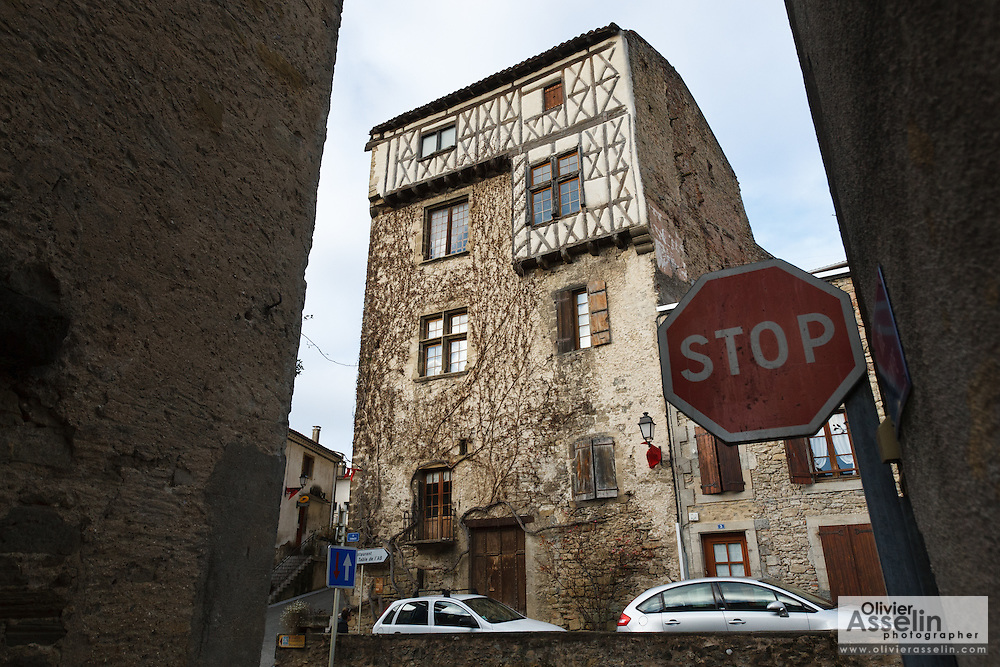 Maison haute (high house) in the fortified medieval village of Camon, Ariege, Midi-Pyrenees, France.