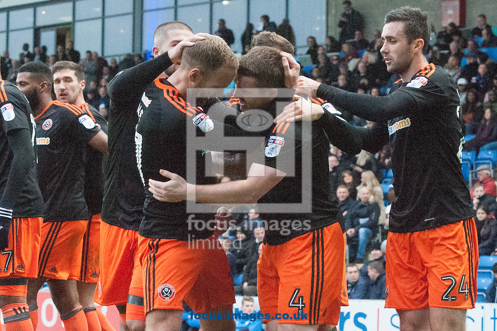 John Fleck of Sheffield United (2nd from right) is congratulated by team mates after scoring his sides second goal during the Sky Bet League 1 match at the b2net stadium, Chesterfield<br /> Picture by Matt Wilkinson/Focus Images Ltd 07814 960751<br /> 13/11/2016