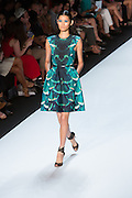 Aqua and green dress with cap sleeves in a marine-inspired print. By Monique Lhuillier at Spring 2013 Fall Fashion Week in New York.