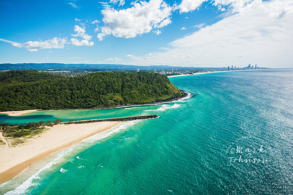 Aerial of Palm Beach, Tallebudgera Creek & Burleigh Head in the near background, Surfers Paradise skyline in the far background, Gold Coast, Queensland, Australia