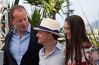 Andrew Lowe, Ed Guiney, Raffey Cassidy, at the The Killing of a Sacred Deer  film photo call at the 70th Cannes Film Festival Monday 22nd May 2017, Cannes, France. Photo credit: Doreen Kennedy