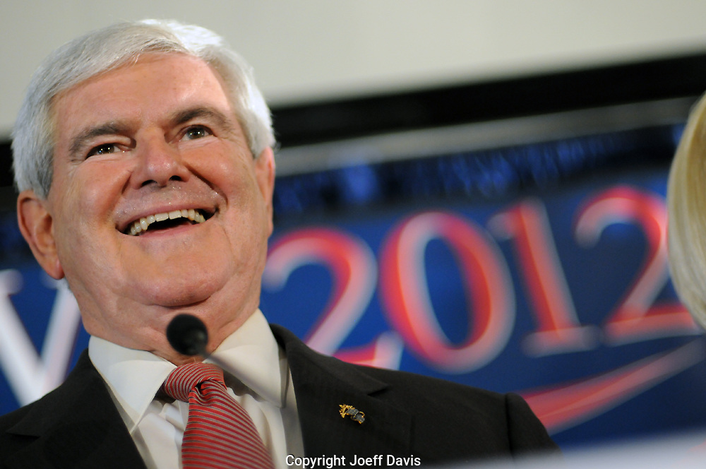 Former Speaker of the House and Georgia congressman Newt Gingrich won a huge victory last night in the South Carolina primary. <br /> <br /> Gingrich celebrated with his supporters in the packed Palmetto State Ballroom at the Columbia, South Carolina Hilton.