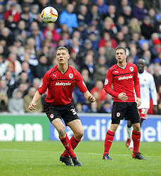 Cardiff City's Ben Nugentwatches as his header back to Cardiff City's Ben Nugent by passes the keeper and ends up in the goal - Photo mandatory by-line: Joe Meredith/JMP - Tel: Mobile: 07966 386802 16/02/2013 - SPORT - FOOTBALL - Cardiff City Stadium - Cardiff -  Cardiff City V Bristol City - Npower Championship