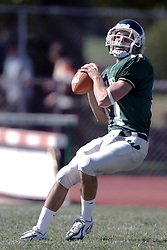 07 October 2006: IWU Quarterback Nick Panno. The Titans of Illinois Wesleyan University started off strong with a touchdown on the 2nd play from scrimmage in the game.  The Titans led most of the way, but failed to maintain the lead in the 4th quarter giving up the decision of this CCIW conference game to the Red Men of Carthage by a score of 31 - 28. Action was at Wilder Field on the campus of Illinois Wesleyan University in Bloomington Illinois.<br />
