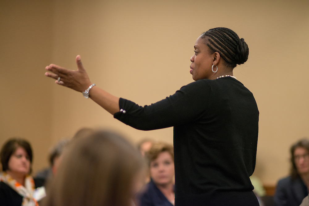 Executive Director of University Communication and Marketing Renea Morris speaks at the Marketing Symposium. Photo by Ben Siegel