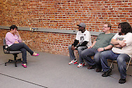 (from left) Molly Guyer-Reed of Oakwood, Nate Washington of Dayton,  Dwight McCormick of Springfield and Aaron Phillips of Dayton during a Lofty Aspirations improv class at The Livery in the Oregon Arts District in Dayton, Wednesday, February 15, 2012.