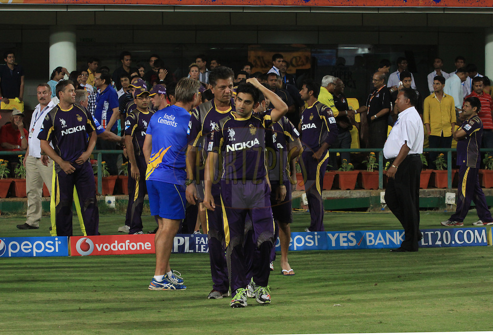 Gautam Gambhir captain of the KKR react after match 21 of the Pepsi Indian Premier League Season 2014 between the Chennai Superkings and the Kolkata Knight Riders  held at the JSCA International Cricket Stadium, Ranch, India on the 2nd May  2014<br /> <br /> Photo by Arjun Panwar / IPL / SPORTZPICS<br /> <br /> <br /> <br /> Image use subject to terms and conditions which can be found here:  http://sportzpics.photoshelter.com/gallery/Pepsi-IPL-Image-terms-and-conditions/G00004VW1IVJ.gB0/C0000TScjhBM6ikg